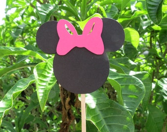 Set of 12 - Minnie Mouse Hot Pink Cupcake Toppers