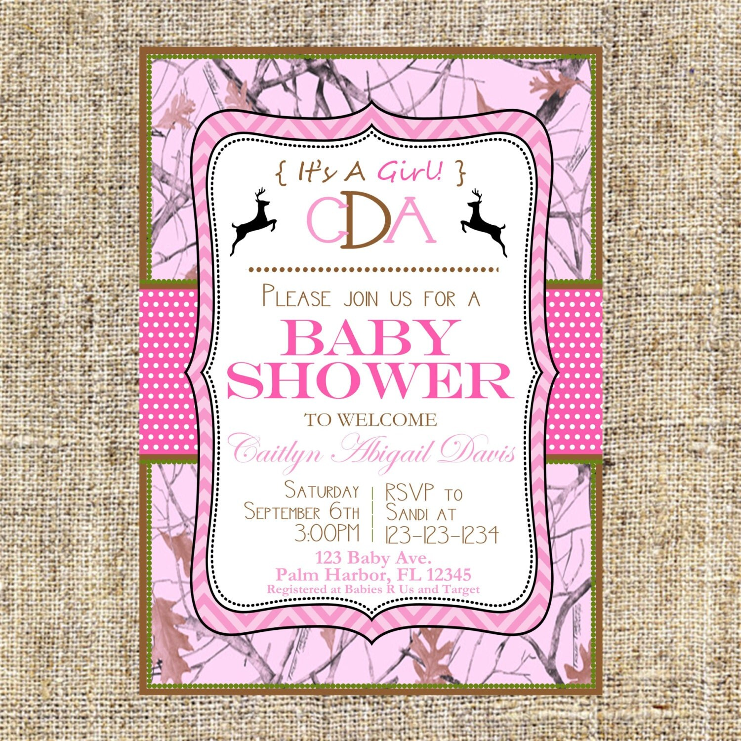 sale pink camo baby shower invitation it 39 s a by merrimentpress