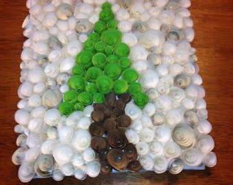 """Rolled Paper Art - 8.5""""x9""""  Tree on snowy background."""