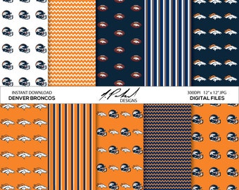 Denver Broncos Instant Download Digital Paper Pack - Digital Files - Fan Art - Digital Paper - JPG Files - Printables