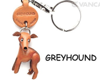 Greyhound 3D Leather Dog Keychain Keyring Purse Charm Zipper pull Accessory *VANCA* Made in Japan #56781   Free Shipping