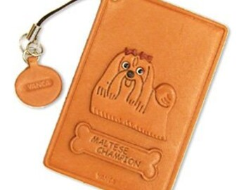 Maltese Champion Dog Leather Dog Commuter Pass/Pass/Card/ID/Badge Case/Holder/Holders *VANCA* Made in Japan #26460 Free Shipping