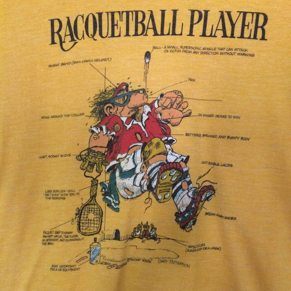 Super Soft Vintage 1970's Racquetball Player Diagram Tee