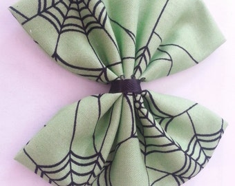 Halloween- Halloween Hair Bow- Spiderweb Hair Bows- Jumbo Halloween Hair Bows- Spiderwebs- Green Spiderweb- Green Spiderweb Bow- Hair Bows