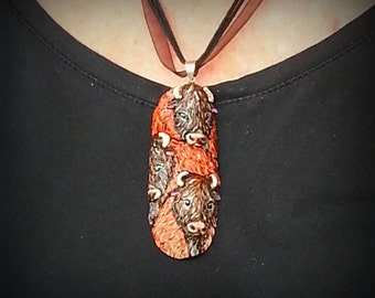 Buffalo Hand Painted Bone Pendant