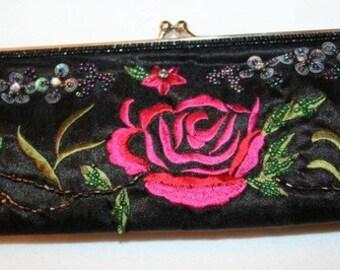 ON SALE Purse , Rose embroidery Clutch , Bohemian Clutch , Boho Clutch ,Urban Clutch , New Year Clutch
