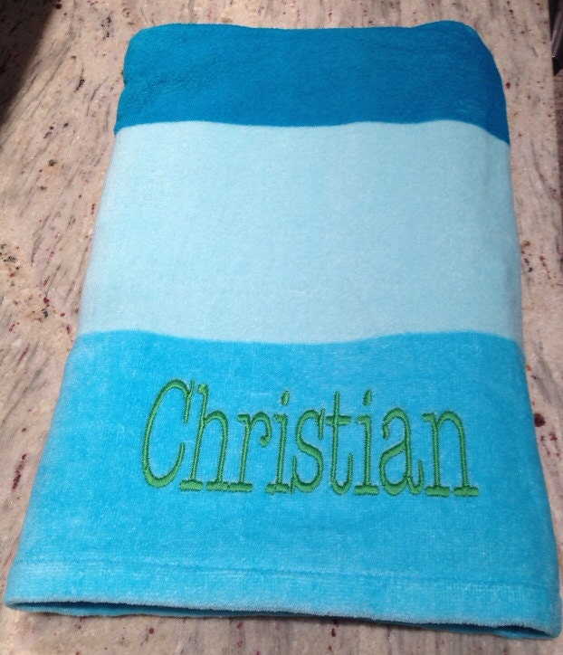Blue Beach Towel Personalized Embroidered Name Mr Mrs