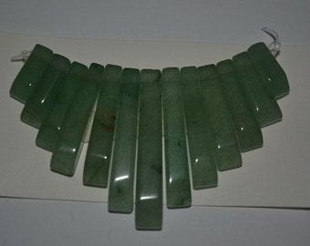 13 Pc. Green Aventurine  Mini Collar - Cleopatra Style