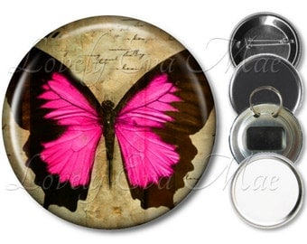 Pink & Black Butterfly Pocket Mirror, Compact Mirror, Butterfly Magnet, Butterfly Bottle Opener Key Ring, Butterfly Keychain, Pinback Button