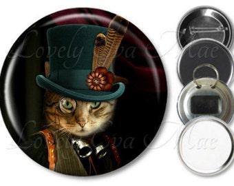 Steampunk Cat Pocket Mirror, Cat Mirror, Compact Mirror,Purse Mirror, Refrigerator Magnet, Bottle Opener Key Ring, Pin Back Button Badge