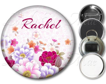 Personalized Floral Pocket Mirror, Purse Mirror, Magnet, Personalized Bottle Opener Key Ring, Pin Back Button