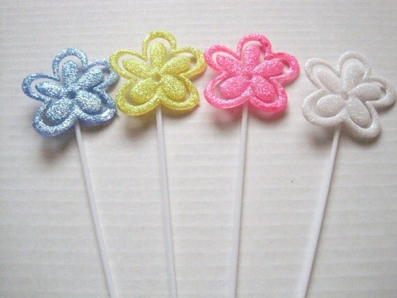 floral picks pk12 flowers glittered card holders assorted