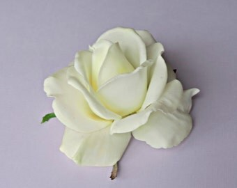 Ivory Rose wedding Bridal Wedding Flower Sash corsage Hair accessories hair clip Flower Girl Easter comb