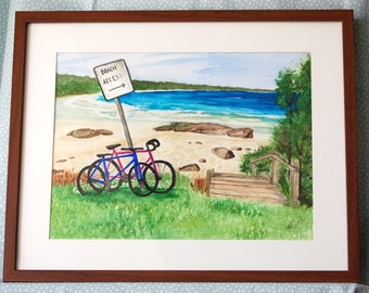 Beach Art Bicycle Art Watercolor Painting, Afternoon Walk for two by the Sea.