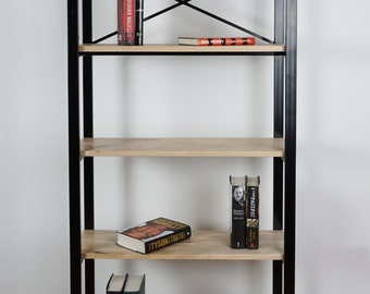 Wood & Steel Industrial Style Bookcase