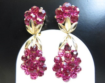 Trifari Fuchsia Briolette Drop Earrings
