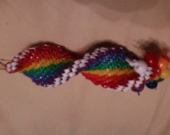 Rainbow DNA strand with white accent