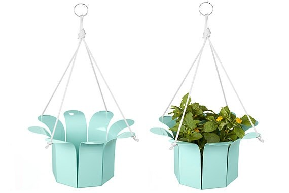 Metal Flower Hanging Baskets : Items similar to in teal green flower hanging planter