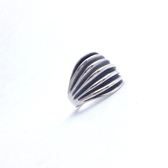 modernist mexico silver ring size 10 vintage taxco silver ring