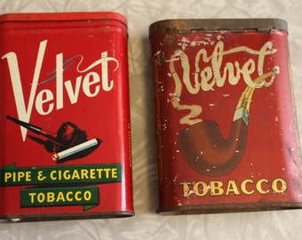 TWO Vintage Velvet Tobacco Tins