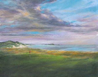 Golf Course Painting gift. Sports Wall Decor. Golf Gift. North Berwick Golf Course, Scotland.