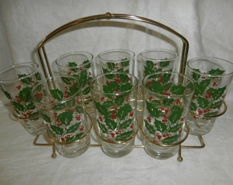 20 % OFF Vintage Christmas drinking glasses tumblers set 8 holly berry with metal stand tote Libbey? Indiana?