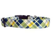 Blue Green Yellow Plaid Dog Collar