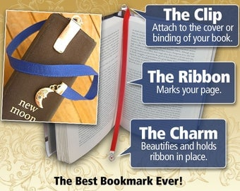 Custom Swarovski Crystal bookmark with clip - Attach clip to book cover then mark the page with the ribbon. Never lose your bookmark!