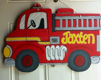 Firetruck Nursery/Hospital Door Hanger