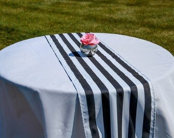 15 Black And White Striped Table Runners, 14x108,1 Inch Stripe Gatsby Glam  Weddings