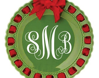 Personalized Holiday Plate ~ Prissy Plate ~ Monogram ~ Christmas Plate Initial Plate Personalized Green and Red Ribbon Plate