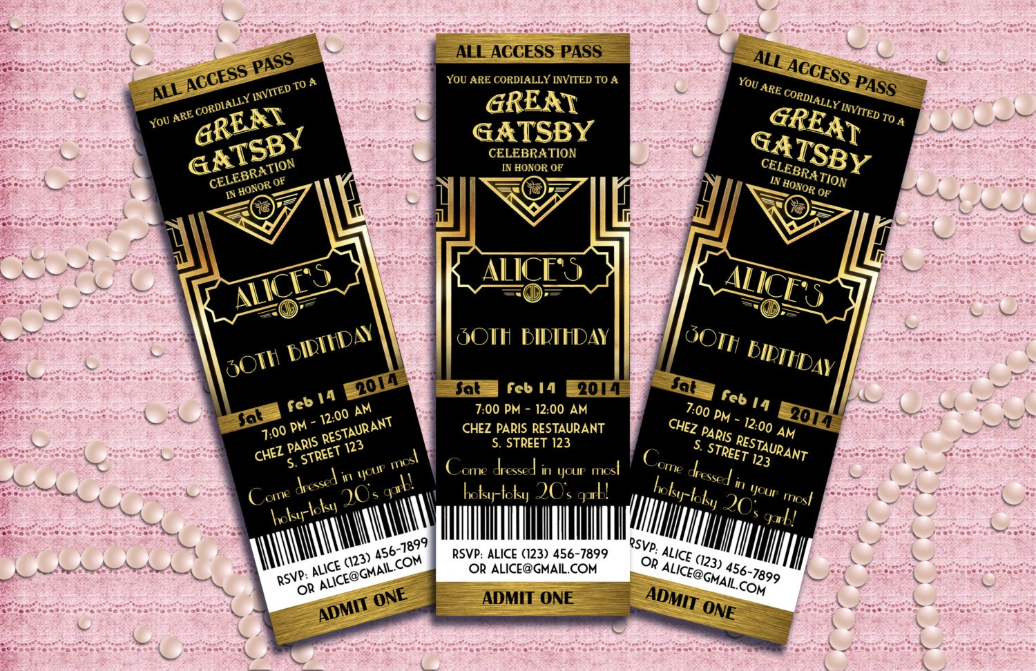 Great Gatsby Style Art Deco Party Invitation Prom by StudioDMD