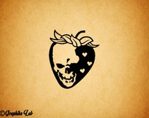 Strawberry Skull Vinyl Decal Strawberry Vinyl Decal