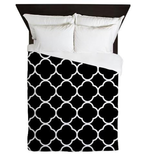 housse de couette quadrilobe noir et blanc literie decor. Black Bedroom Furniture Sets. Home Design Ideas