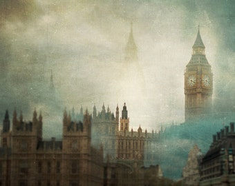 London Surreal photo print, photography print, home decor, large size wall art, Big Ben architecture abstract Houses of parliament
