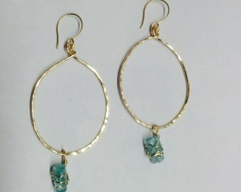 Apatite Gemstone Oval Hoops, Natural Crystal, 14kt Gold Filled or Sterling Silver, Long Stunning Earrings, Forged by LisaJStudioJeweler.