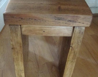 Chunky rustic reclaimed timber side end table