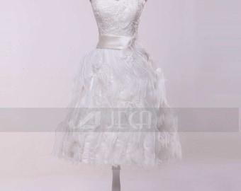 Chic Short Wedding Dress Summer Wedding Dress Beach Wedding Dress Honeymoon Outfits W854