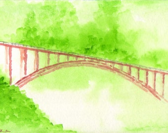 Swiss Bridge in Watercolour