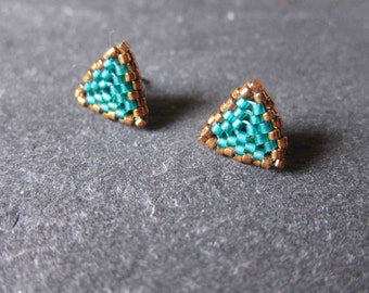 Triangle Miyuki earrings in caribbean teal and bronze. Glass seed beads