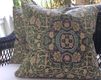 "Ralph Lauren Pillow Cover in ""Cassis"" Persian Design on Slubby Cotton"