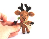 REINDEER Ornament to fill Advent Calender, Miniature Holiday Figurine, Tiny Stocking Filler, Christmas Countdown Calendar Stuffer, Kids Toy