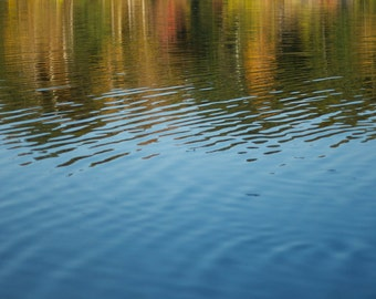 "Photo greeting card (blank inside)""Autumn Impressionism"" nature autumn water reflection color zen fine art"