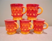 Cool Anchor Hocking Fire King Set of 5 Retro Orange and Red Coffee Mugs in the Kimberly Diamond Pattern Tea Cups Hot Chocolate Mugs