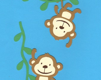 Monkeys on Vines layered Die Cuts, 2 Monkeys & 2 Vines