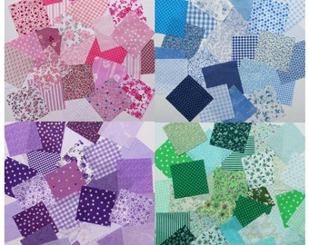 Patchwork squares 4x4 ins (10cms) Pink, Blue, Purple or Green. Packs of 50