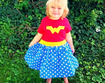 Wonder lil Woman inspired dress baby toddler or girls Comic book super hero cosplay Costume