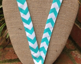 Aquarium Aqua and White Chevron Lanyard