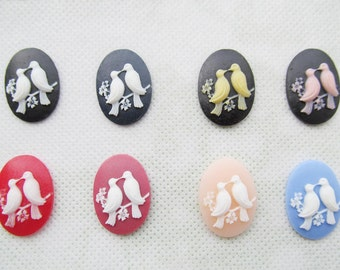 18x25mm Mixed Color Oval Flatback Resin Couple Kissing Birds Cabochon/Cameo Charm/Finding,fit Base Setting Tray,Decoration Kit,DIY Accessory