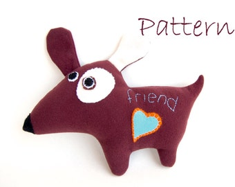 Plush toy Dog pattern stuffed animal easy sewing toy INSTANT DOWNLOAD